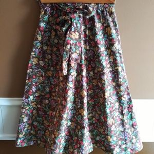 Vintage 70s Floral Wrap Skirt with Bow
